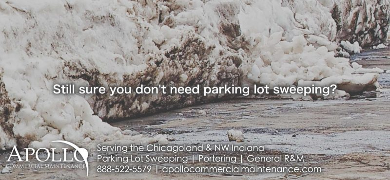 """""""Still need a reason to value parking lot sweeping services?"""" with parking lot background"""