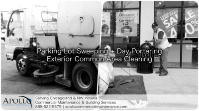 parking lot sweeping truck