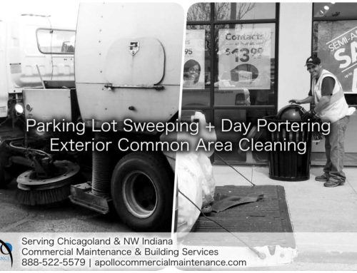Parking lot sweeping plus day portering is the 1-2 punch your exterior commercial property maintenance needs.